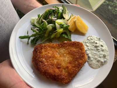 Chefs at Home: Swordfish 'Schnitzel' with Early Summer Salad and Herb + Caper Mayonnaise