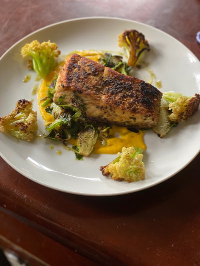 Chefs at Home: Wild Halibut with Charred Garlicky Cauliflower, Brussels, Gingered Carrot Purée