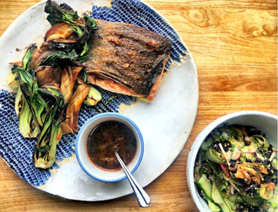 Chefs at Home: Seared Salmon with King Oyster Mushrooms, Bok Choy & Seaweed Salad