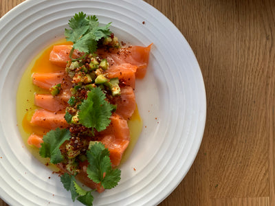 Chefs at Home: Salmon Crudo with Chili-Japones & Cucumber Salsa