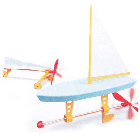 2 in 1 Rubber Band Vehicle (Yacht & Car) - Maker Pal