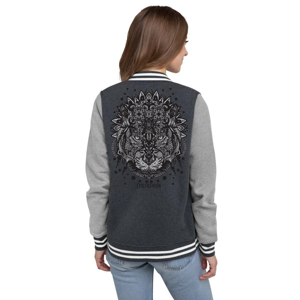 White Mandala Women's Letterman Jacket - Epic Fashion UK