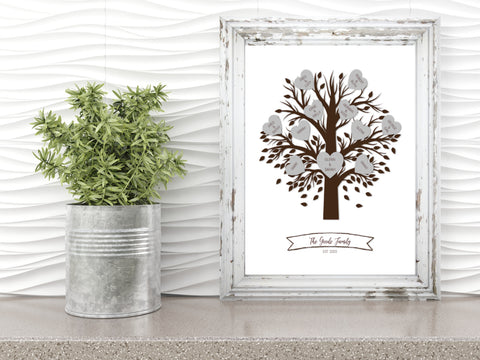 Family tree template in frame