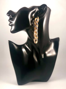 "Gold Metal Large Chain Link Long Drop Earrings. Approximately 3.25"" Length x 0.5"" Width, with Post Back."