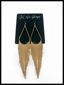 "Teardrop Long Fringe Drop Earrings Color: Gold Approx. 5"" Length x 1"" Width Hook Back"