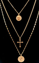 Load image into Gallery viewer, Multi Layer Necklace with Coin and Cross Charms