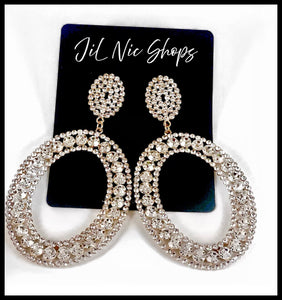 "Picture of Rhinestone Oval Hoop Drop Statement Earrings Color: Clear/Gold Approx. 4"" Length x 2.25"" Width Post Back"