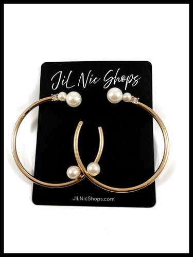 Image of Pearl Embellished Gold Hoop with Rhinestone Accent Color: Gold/Ivory Approx. 2.25