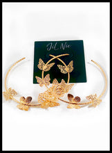 "Load image into Gallery viewer, Butterfly Embellished Hoop Earrings  Color: Gold Approx. 3.0"" Length x 3.0"" Width Post Back"