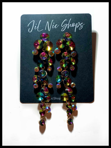 Multi Colored Rhinestone Linear Cluster Drop Earrings Color: Vitrail (Multi)/Gold Approx. 3.75