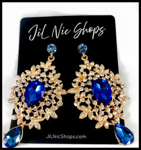 "Image of Rhinestone Pave Floral Drop Earrings Color: Blue/Clear/Gold Approx. 3"" Length x 1.7"" Width Post Back"