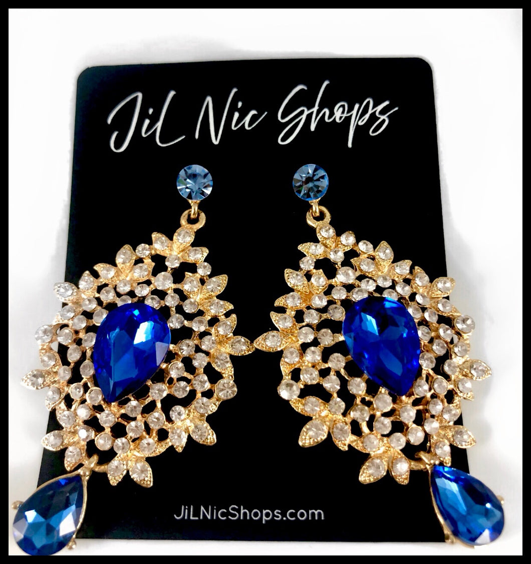 Image of Rhinestone Pave Floral Drop Earrings Color: Blue/Clear/Gold Approx. 3