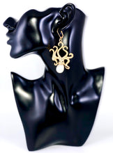 "Load image into Gallery viewer, Texture Octopus with Pearl Accent Dangle Earrings Color: Gold/White Approx. 2.8"" Length x 1.5"" Width Lever Back"