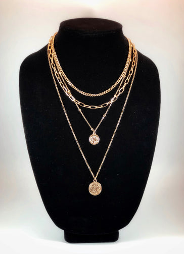 Four Layer Necklace with Plain Link Chain, Plain Chunky Chain, Studded Chain with Coin Charm and Delicate Link Chain with Coin Charm  Color: Gold Approx. 16-18-20-24