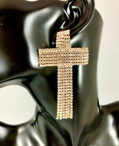 "Magnified image of the Rhinestone Cross Tassel Drop Earrings. Approximately 3.0"" Length x 1.8"" Width. Has a post back."
