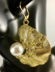 "Enlarged picture of Biomorphic Gold Pearl with Rhinestone Details Dangle Earrings Color: Light Gold/White Approx. 2.5"" Length x 2.0"" Width  Lever Back"