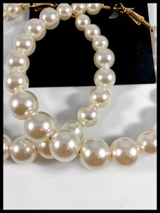 "Enlarged picture of Image of Gradual Pearl Beaded Hoop Earrings Color: Ivory/Gold Approx. 3.0"" Length x 3.25"" Width Clip Back"
