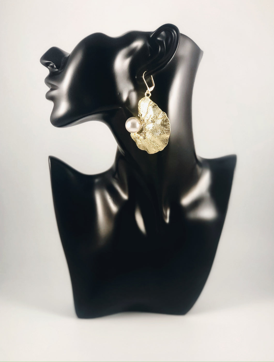 Biomorphic Gold Pearl with Rhinestone Details Dangle Earrings Color: Light Gold/White Approx. 2.5