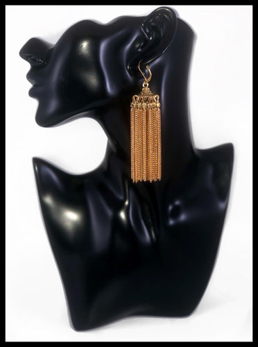 Tassel Chain Dangle Earrings Color: Gold Approx. 3.5