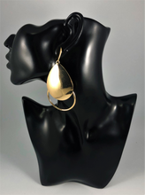 "Load image into Gallery viewer, Gold double teardrop open drop earrings. Approximately 3.5"" Length x 2"" Width, with a post back."