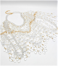 "Load image into Gallery viewer, Flat Image of Lucite and Gold Beaded Cape   Color: Clear/Gold One Size - Neck 12"" Drop Clasp Closure"