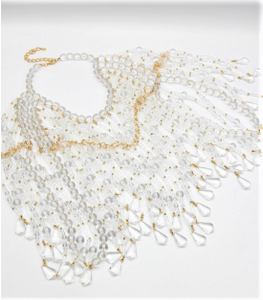"Flat Image of Lucite and Gold Beaded Cape   Color: Clear/Gold One Size - Neck 12"" Drop Clasp Closure"