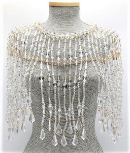 "Lucite and Gold Beaded Cape   Color: Clear/Gold One Size - Neck 12"" Drop Clasp Closure"