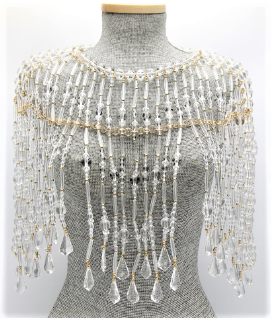 Lucite and Gold Beaded Cape   Color: Clear/Gold One Size - Neck 12