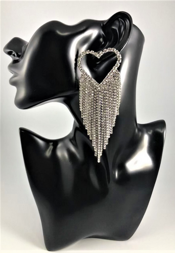 Rhinestone Heart Fringe Drop dangle Earrings. Approximately 4.25