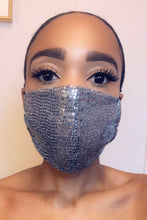 "Load image into Gallery viewer, Reusable Washable Double Layered Fitted Sequin Face Mask with Elastic Bands Color: Sequin/Black Poly/Cotton Blend Approx. 7 1/2"" Length x 5 1/2"" Width  Washable and Reusable One Size Fits All  Not a Medical Grade Mask"