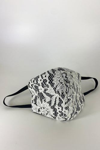 White Embroidered Lace Triple Layer Filtered Reusable Face Mask