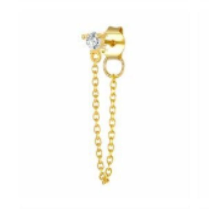ROUND STUD STRING GOLD EARRING