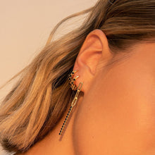 Load image into Gallery viewer, BLACK MINI CHAMPAGNE GOLD EARRINGS