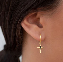 Load image into Gallery viewer, KATAI GOLD CROSS EARRINGS