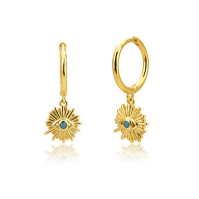BLUE EYE GOLD EARRINGS