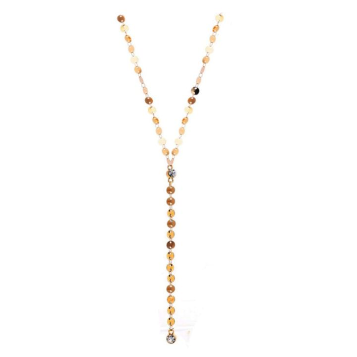 COIN DISC LARIAT NECKLACE