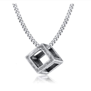 CUBE BLACK SILVER NECKLACE