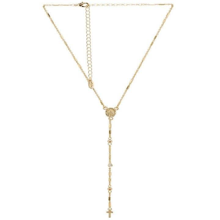 Cross Y Necklace in gold