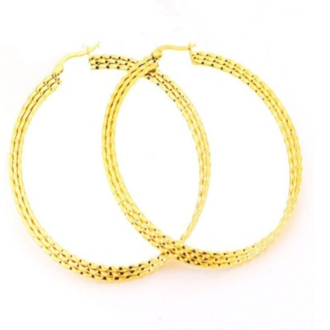 LAYERED CLASSIC HOOP EARRINGS 7CM