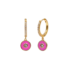 Load image into Gallery viewer, MAGENTA ELOGY GOLD EARRINGS