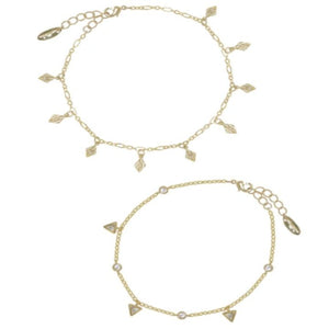 Mini Crystal Charms 18k Gold Plated Anklet Set of 2
