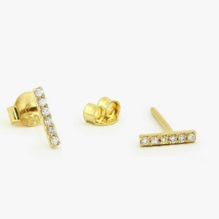 PAVE STICK GOLD EARRINGS