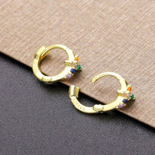 Load image into Gallery viewer, RAINBOW CROSS GOLD EARRINGS