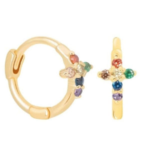RAINBOW CROSS GOLD EARRINGS
