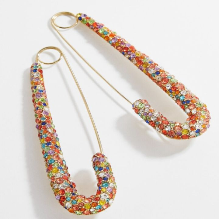 RAINBOW MIM SAFETY PIN EARRINGS