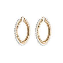 Load image into Gallery viewer, AMALFI PEARL HOOP EARRINGS