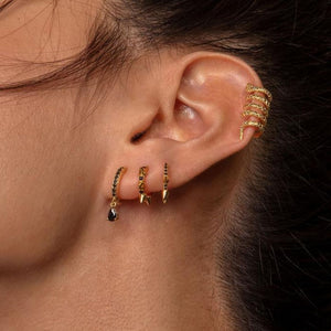 BLACK DEVOTED GOLD EARRINGS