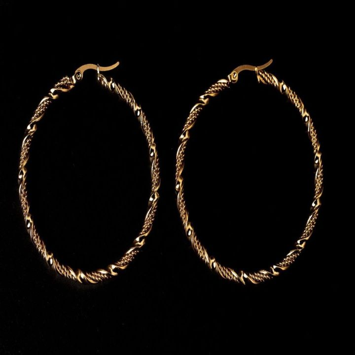 BRAIDED ROPE HOOP GOLD EARRINGS