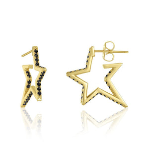 "1""CAROLINE PAVE STAR HUGGIE EARRINGS"