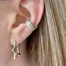 "Load image into Gallery viewer, 1""CAROLINE PAVE STAR HUGGIE EARRINGS"